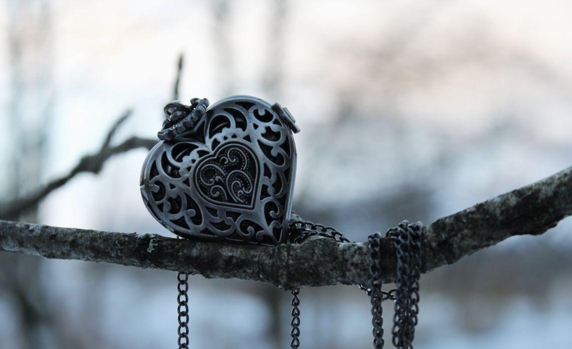 decoration heart pendant branch wallpaper