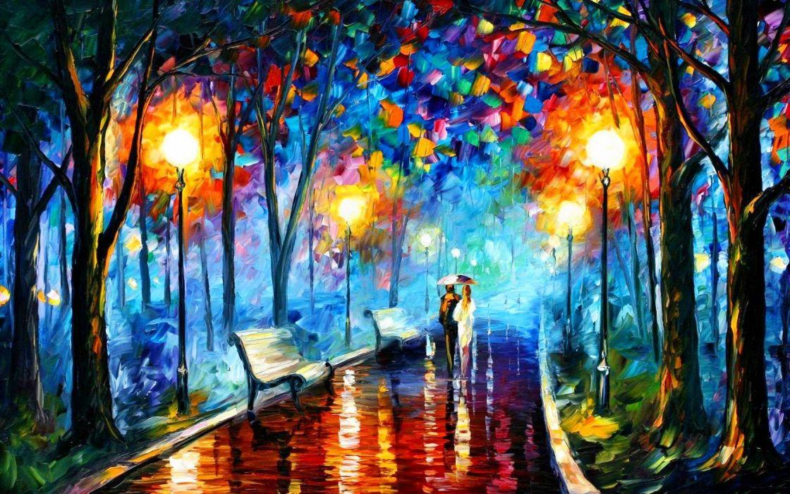art picture oil Park couple umbrella wallpaper