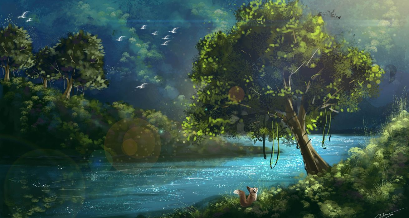 landscape summer Art trees Rays foliage Green nature squirrel ptittsy painting small river wallpaper