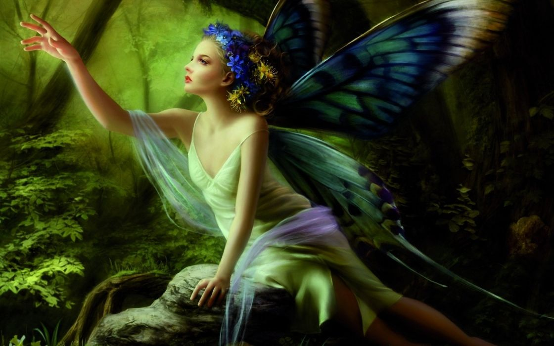 girl fairy wings Butterflies forest stone Sitting hand wreath Flowers wallpaper