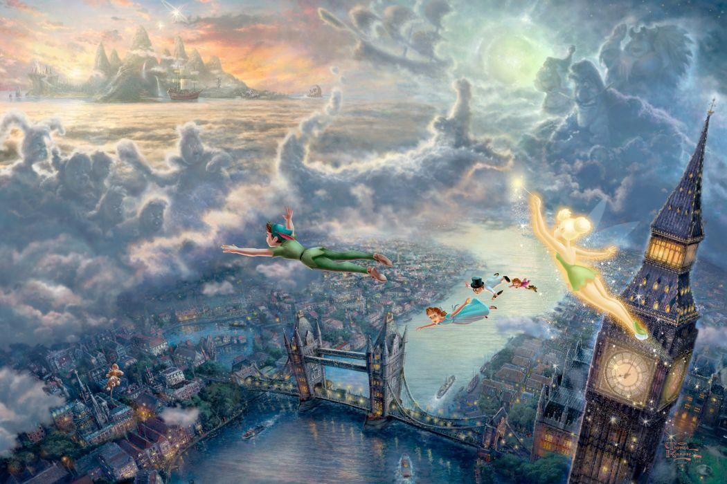 Thomas Kinkade Disney Art London bridge Big Ben watch Peter Pan Tinkerbell Ding-ding fairy Wendy flight children Captain Hook clouds sea castle Ships city lights sunset story wallpaper