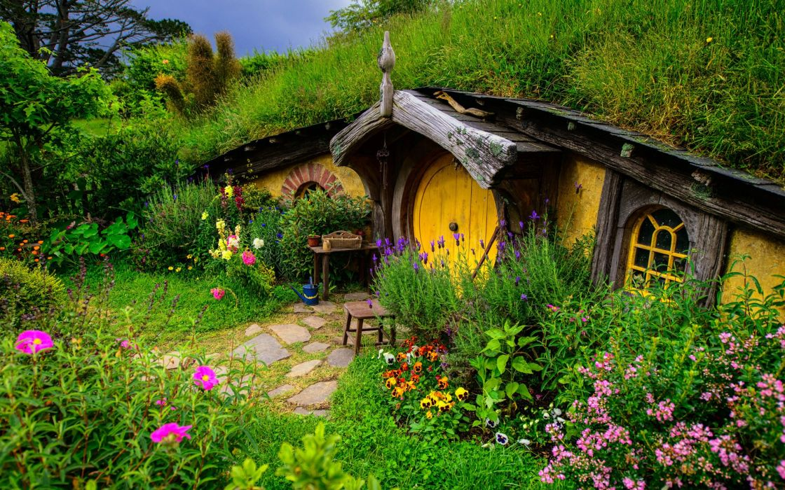 Nora Shire Lord of the Rings New Zealand hill greens grass Flowers home wallpaper