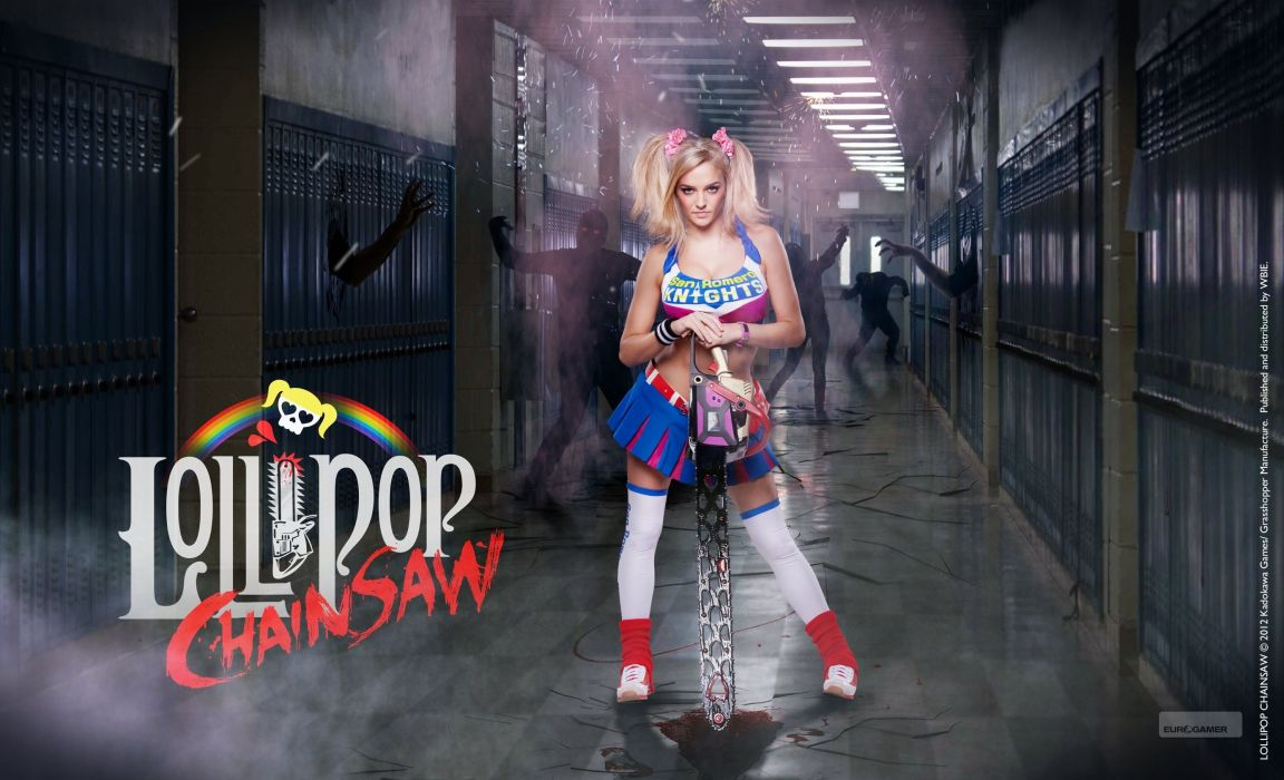 LOLLIPOP CHAINSAW comedy horror action fighting dark cosplay sexy babe wallpaper