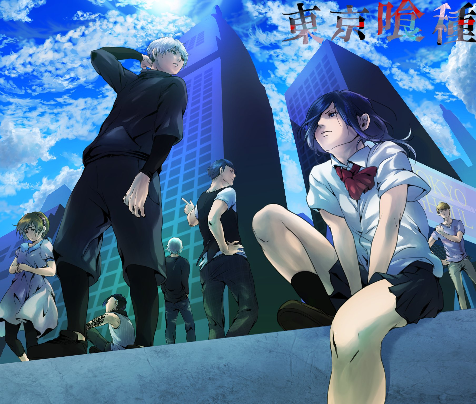 Tokyo Ghoul Anime Series Characters Clouds Blue Sky Girls