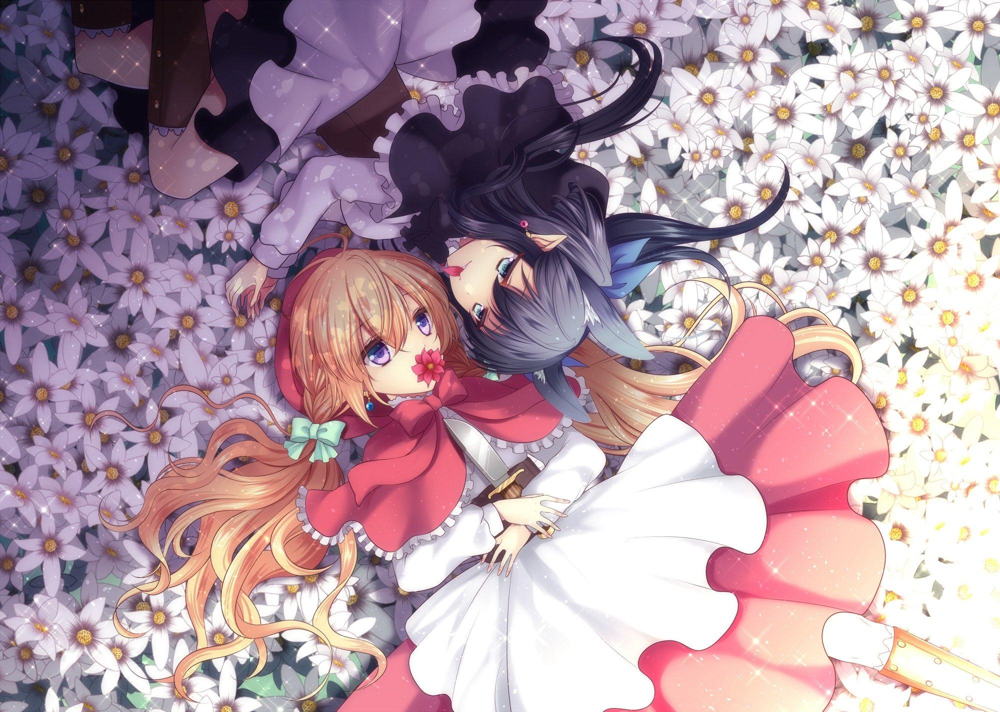 Anime Girls Cute Flower Garden Dress Long Hair Wallpaper 2000x1424 521130 Wallpaperup