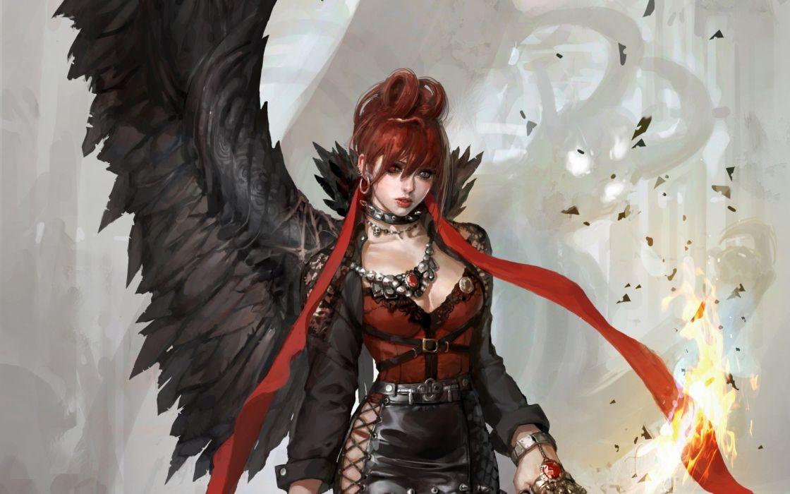 Fantasy Girl Demon Evil Wings Red Hair Girl Wallpaper