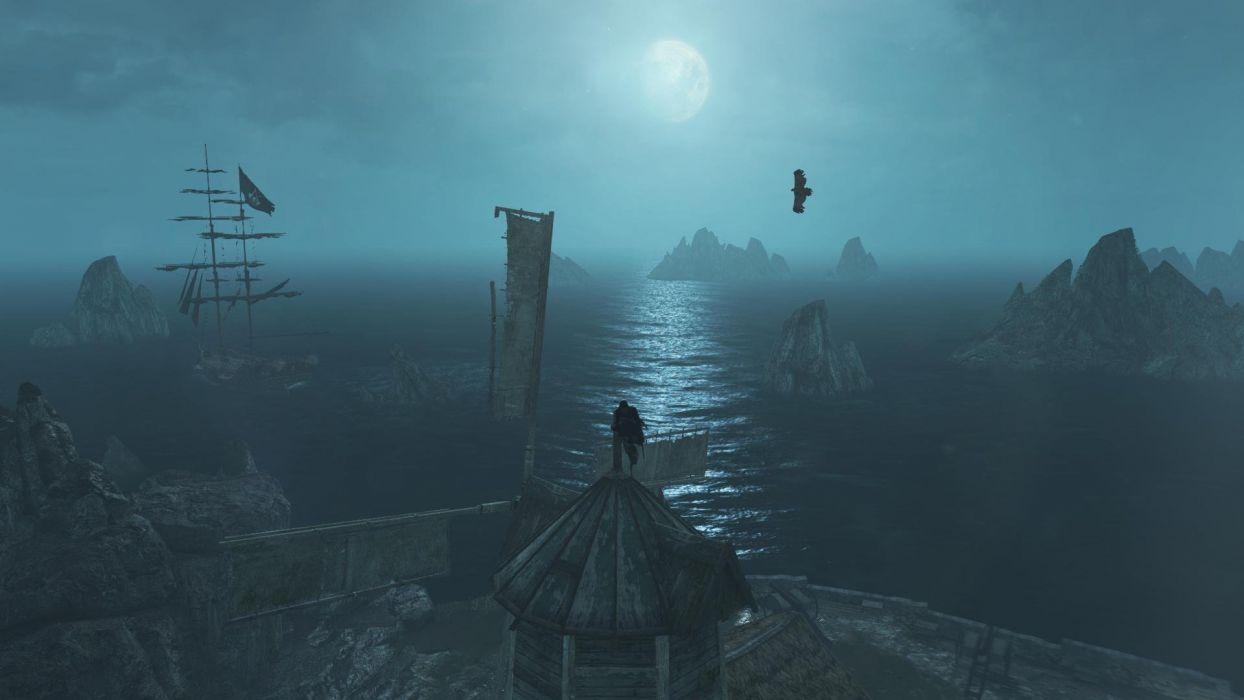 Assassin's Creed IV Black Flag Night Moon Sea Water Rock Ship Jackdaw Eagle wallpaper