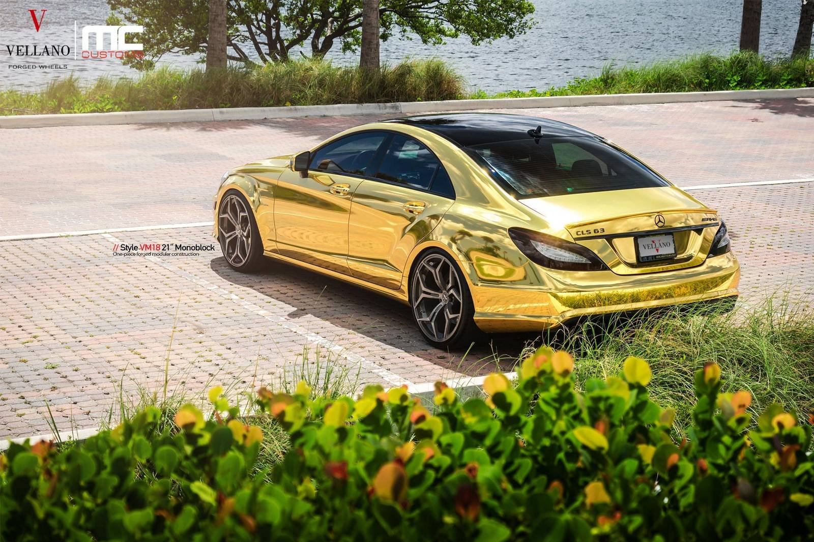 Mercedes Cls 63 Amg Cars Gold Chrome Wrapping Tuning