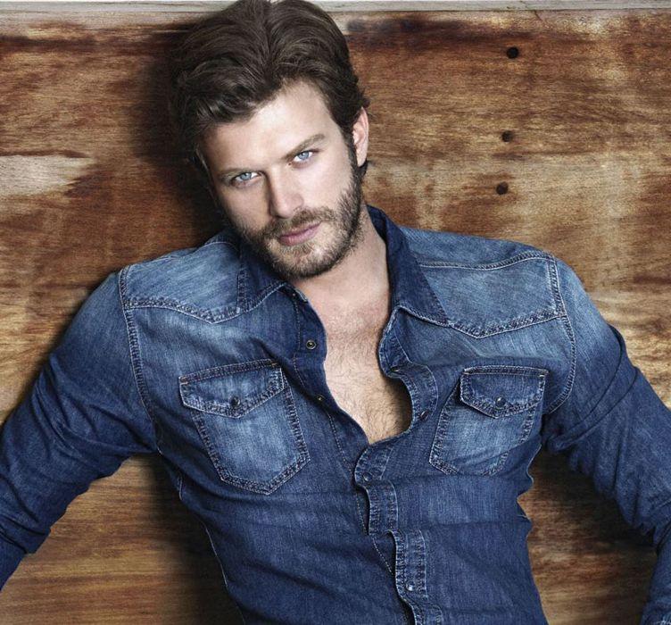 Kivanc-Tatlitug turkish actor handsome blue eyes jacket model wallpaper