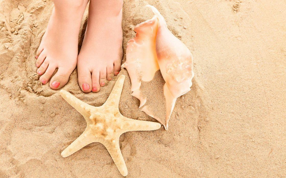 STARFISH - beach summer sand shells feet girls wallpaper