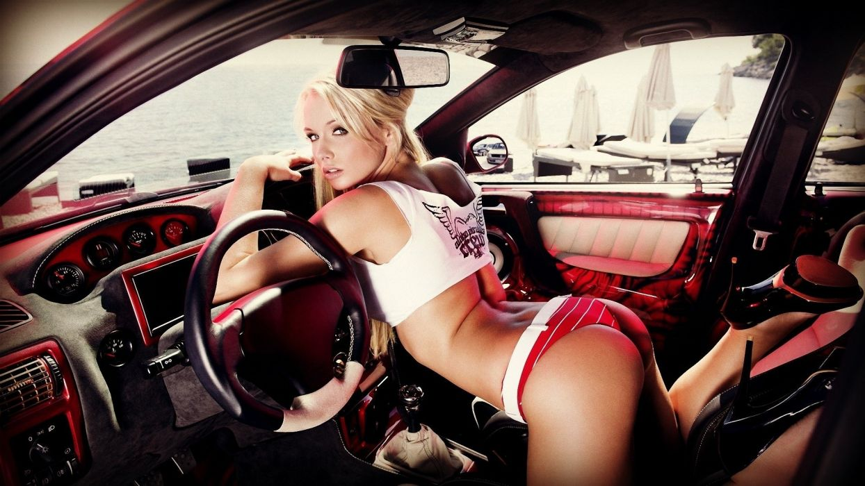 WOMEN AND MACHINES - blonde car short red girl wallpaper