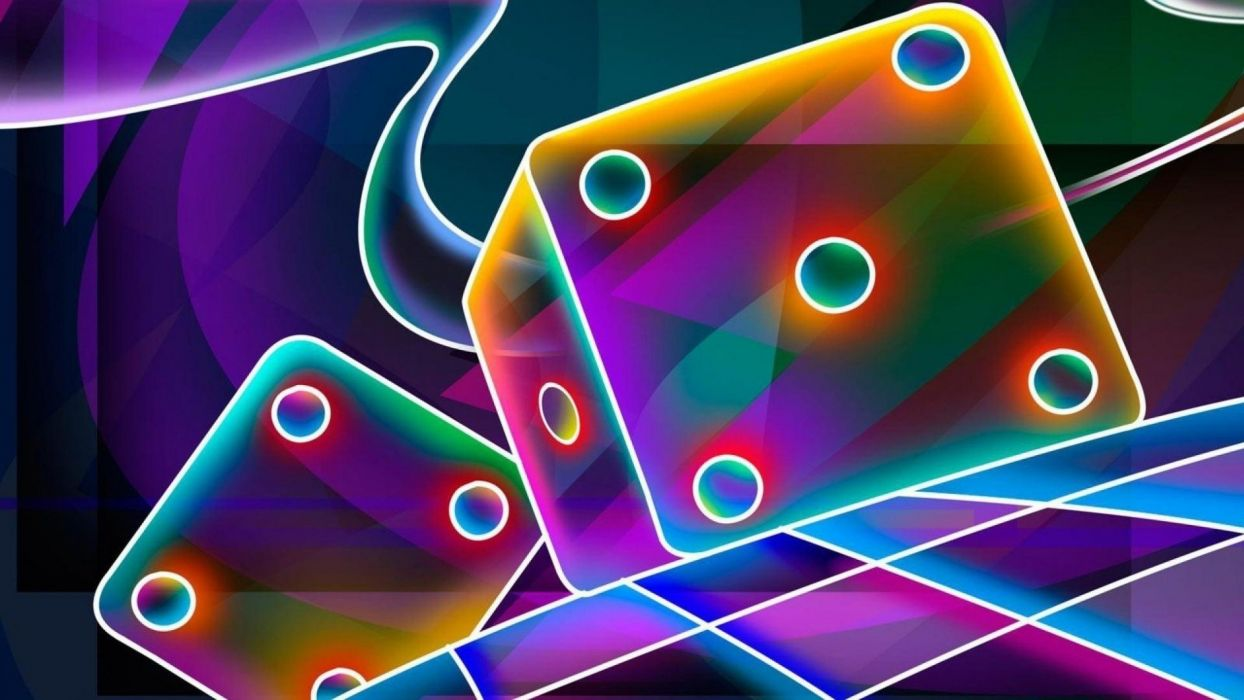 abstract dice colorful neon wallpaper