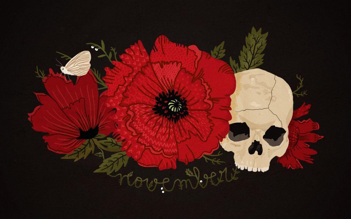 flowers skull wallpaper