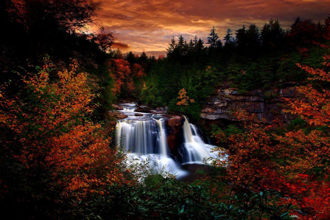 autumn fall waterfall tree foliage wallpaper