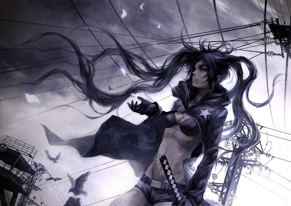black rock shooter the wind wire birds wallpaper