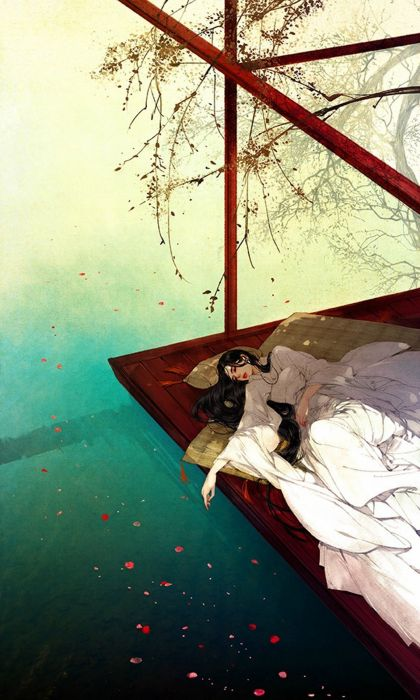 water sleep girl petals sakura long hair wallpaper