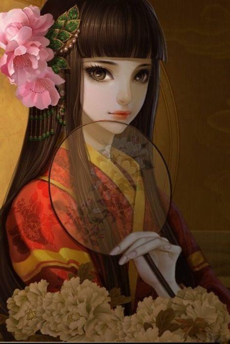 flower girl anime long hair wallpaper