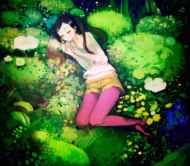 Flower Sleep Girl Color Anime Wallpaper 1440x1260