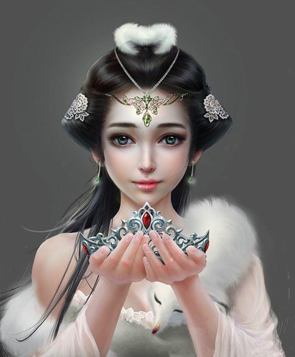 princess girl painting 3d fantasy wallpaper