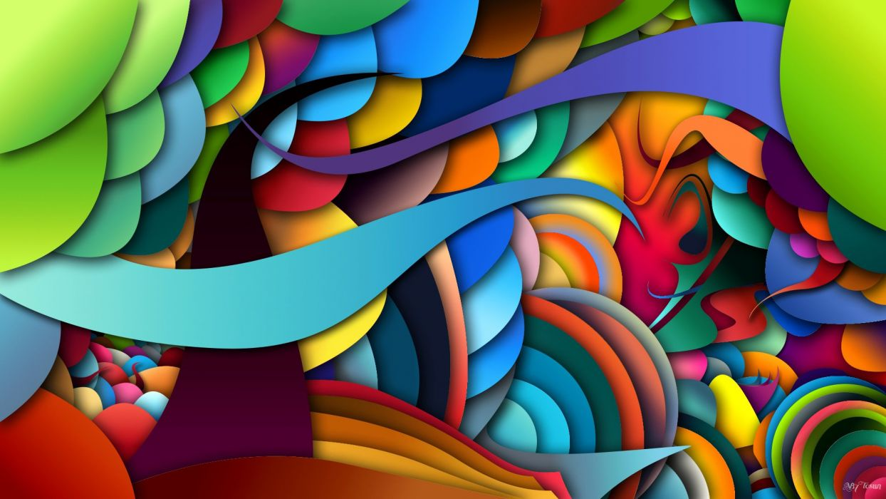swirls colorful psychedelic bright wallpaper