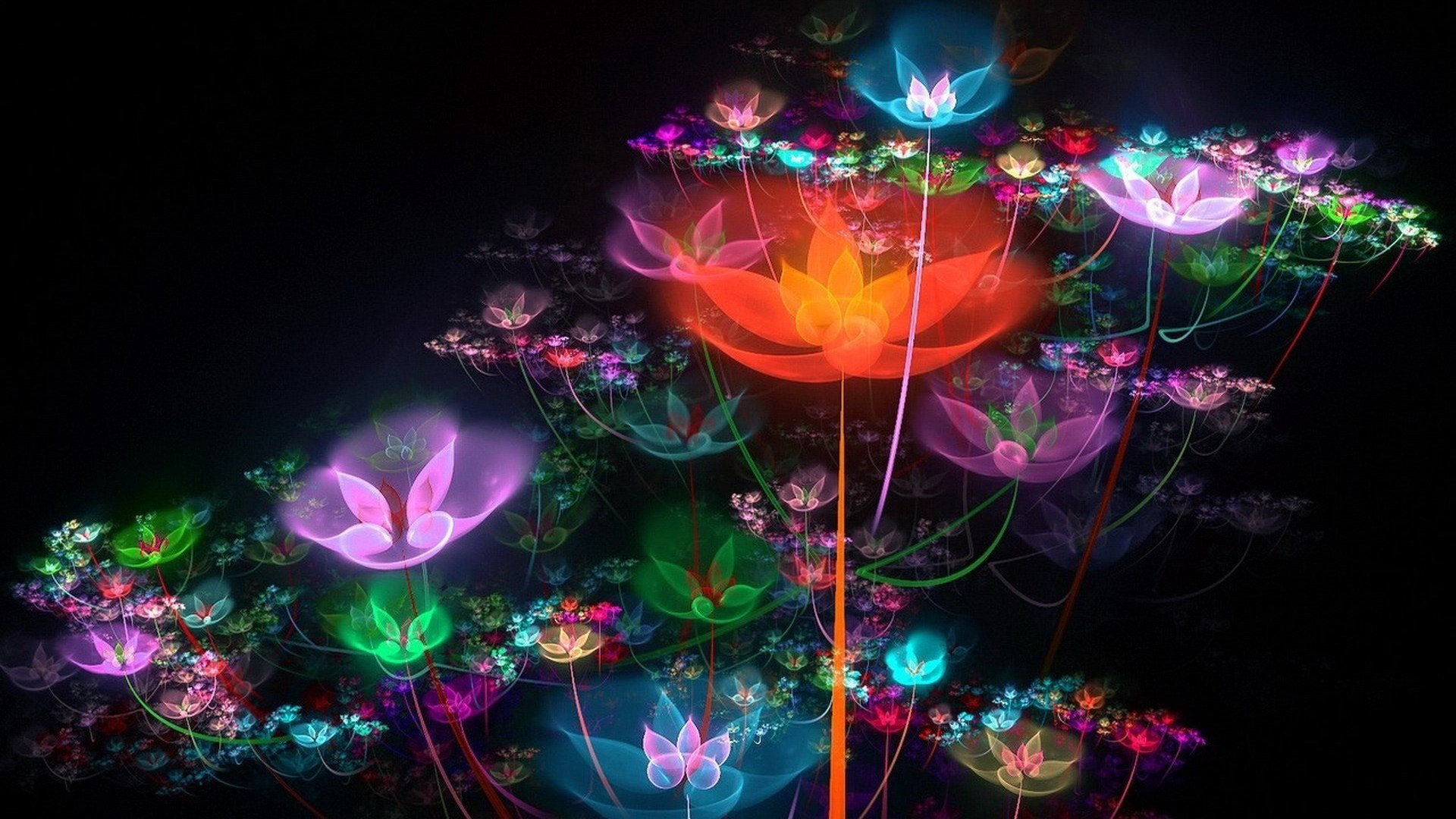 Colorful bright flowers sparkles neon wallpaper ...