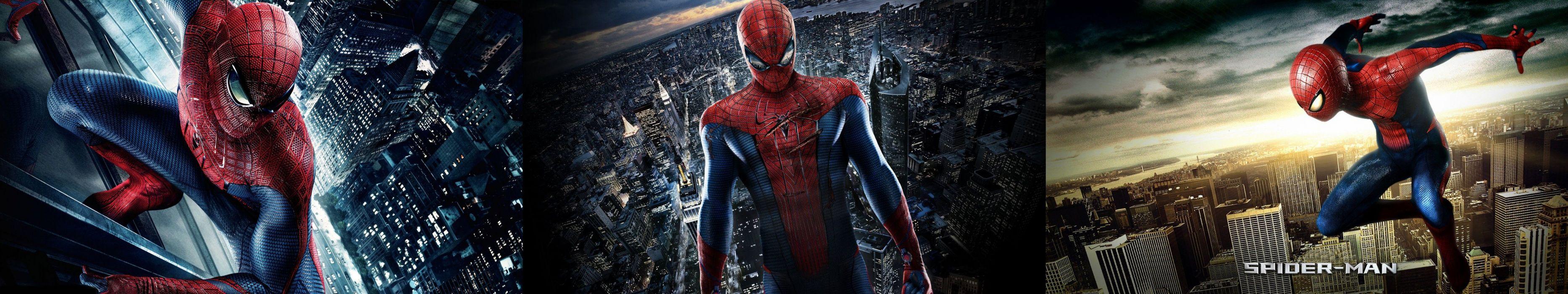 triple screen - multi monitor - multiple - heroes - spiderman wallpaper