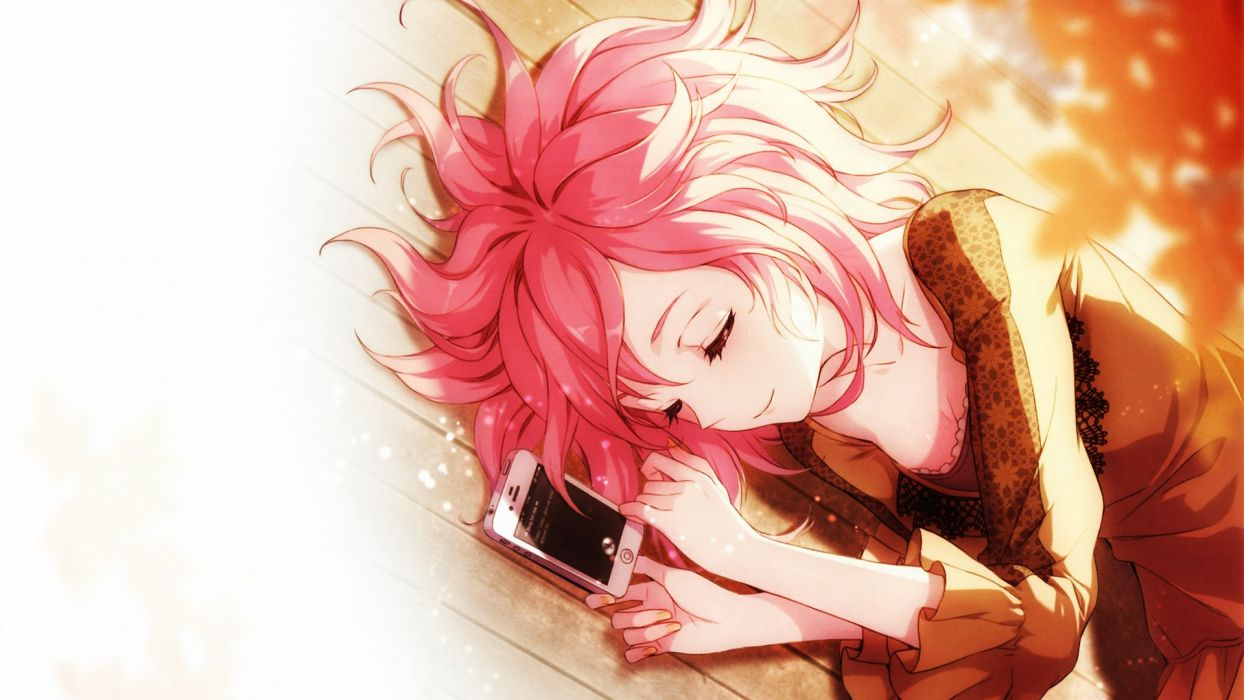 sleep girl pink hair sunlight anime wallpaper
