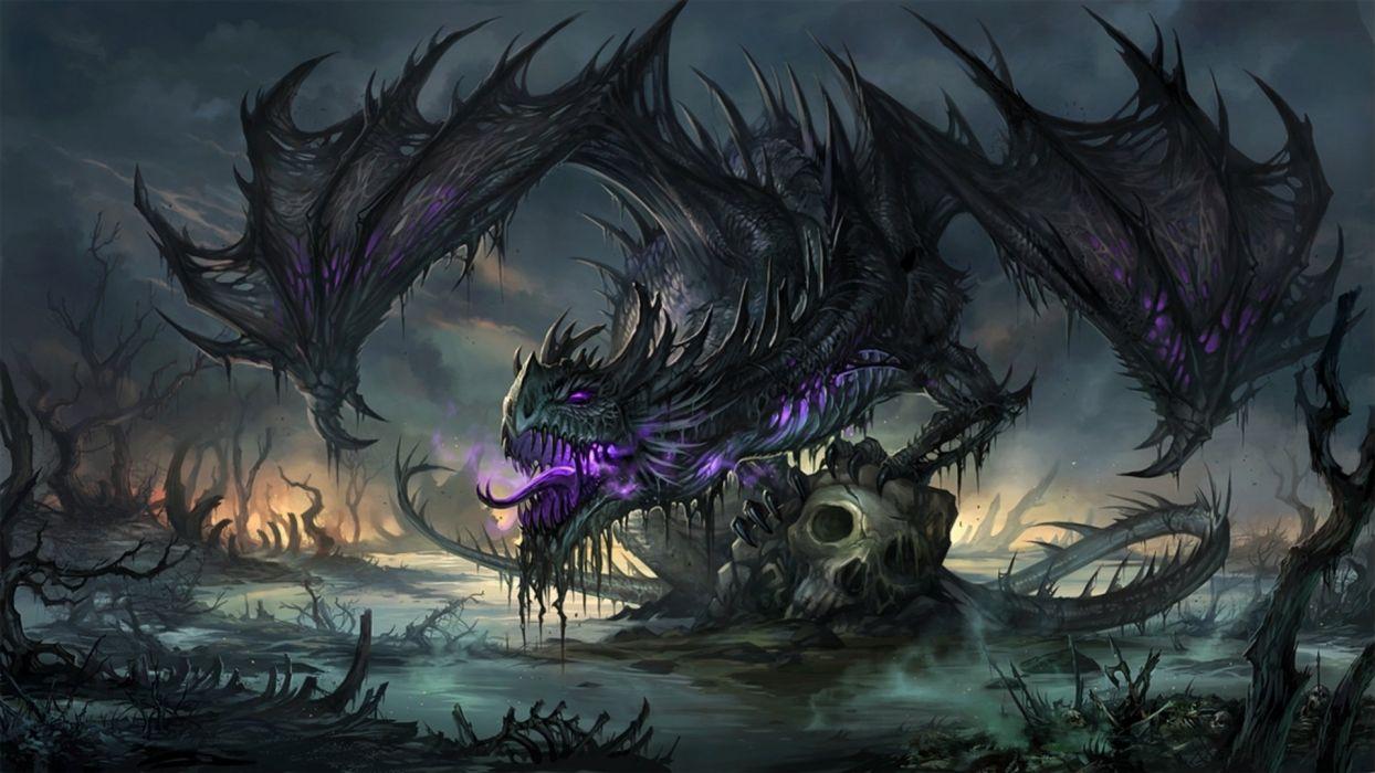 DRAGONS - gothic skull wings fantasy purple wallpaper