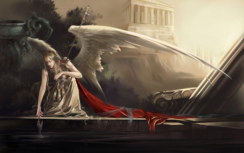 Angel Dark Water Red Wallpaper 1920x1209 525127