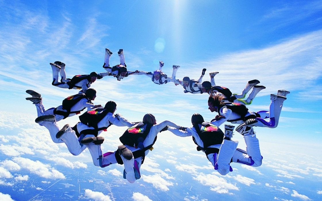 skydiving group cloud sports wallpaper