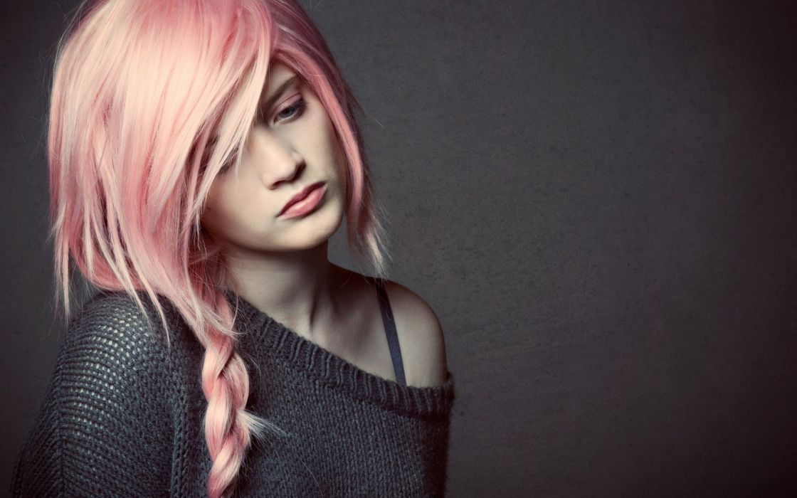 pink hair girl mood model wallpaper