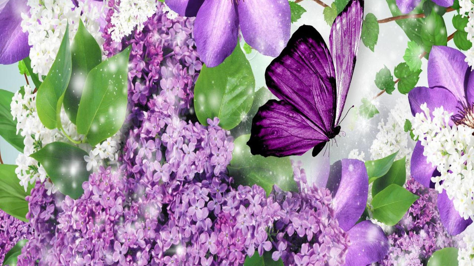 Purple Flowers And Butterfly Wallpaper