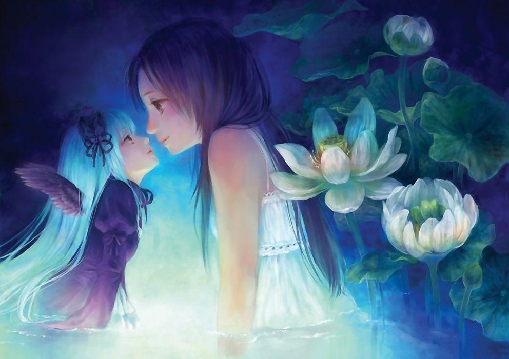 fairy anime wings flower water dress girl wallpaper
