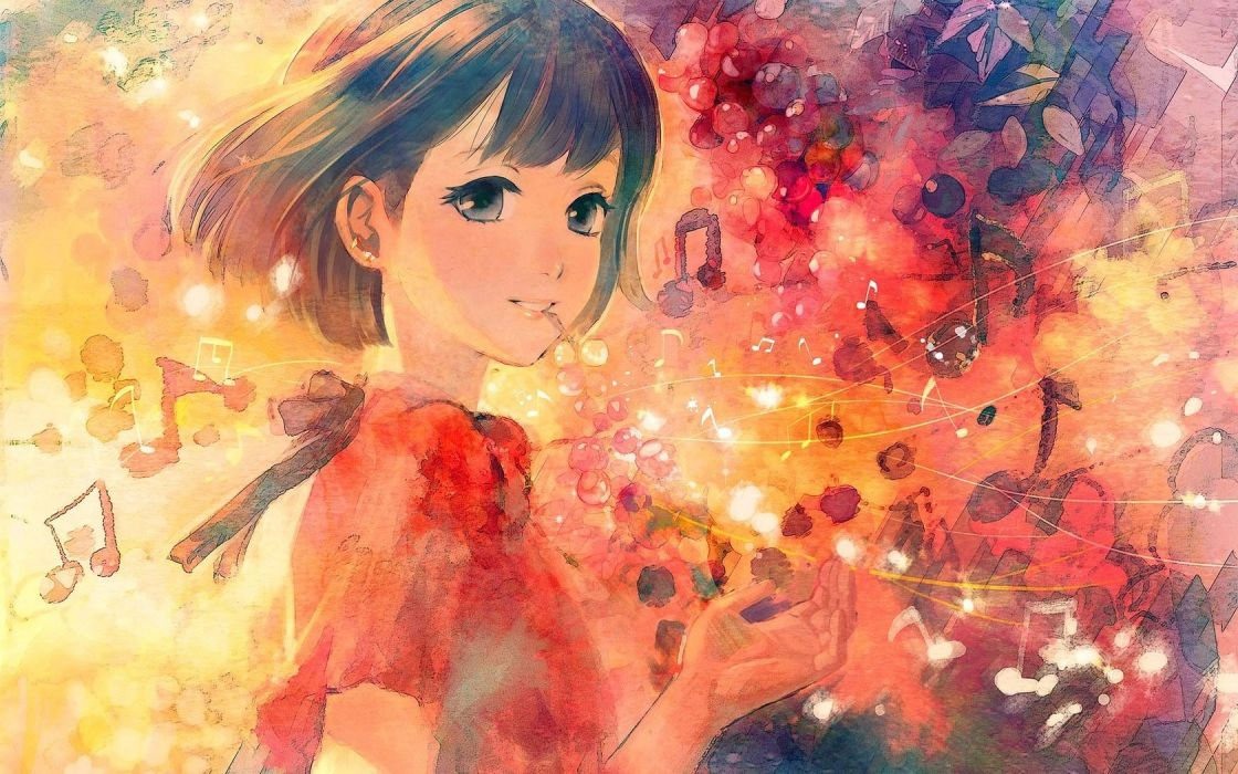 anime girl notes music color wallpaper
