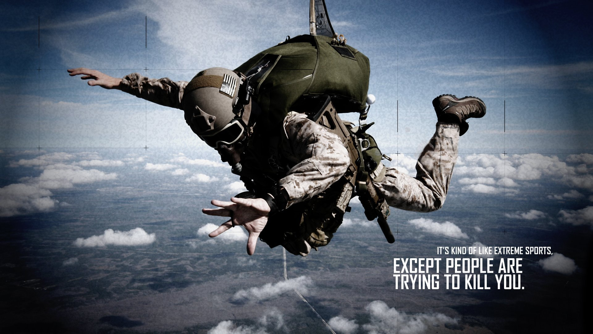 Soldier Skydive Fall Paratrooper warriors mask military text quotes statement dark wallpaper ...