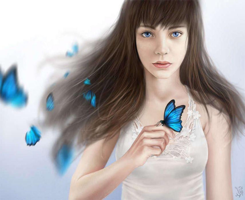 fantsy girl butterfly blue eyes long hair wallpaper