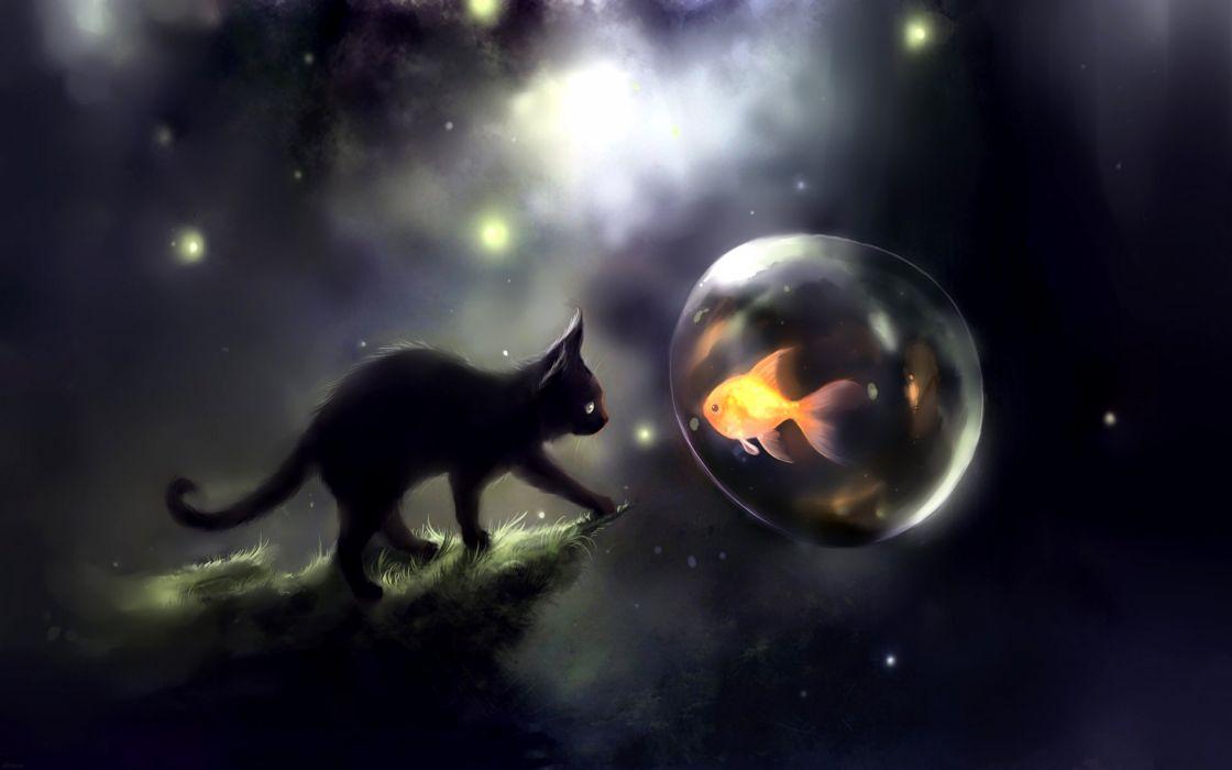 Kitten Dreams Art cat fish water balloon wallpaper