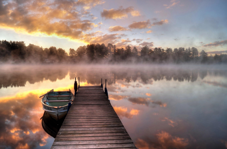 winter lake fog reflection - photo #33