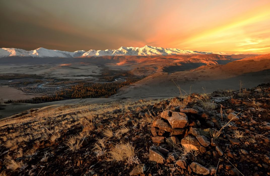 North Chui Ridge Altai Autumn Mountain Desert Sunset Sunrise Wallpaper
