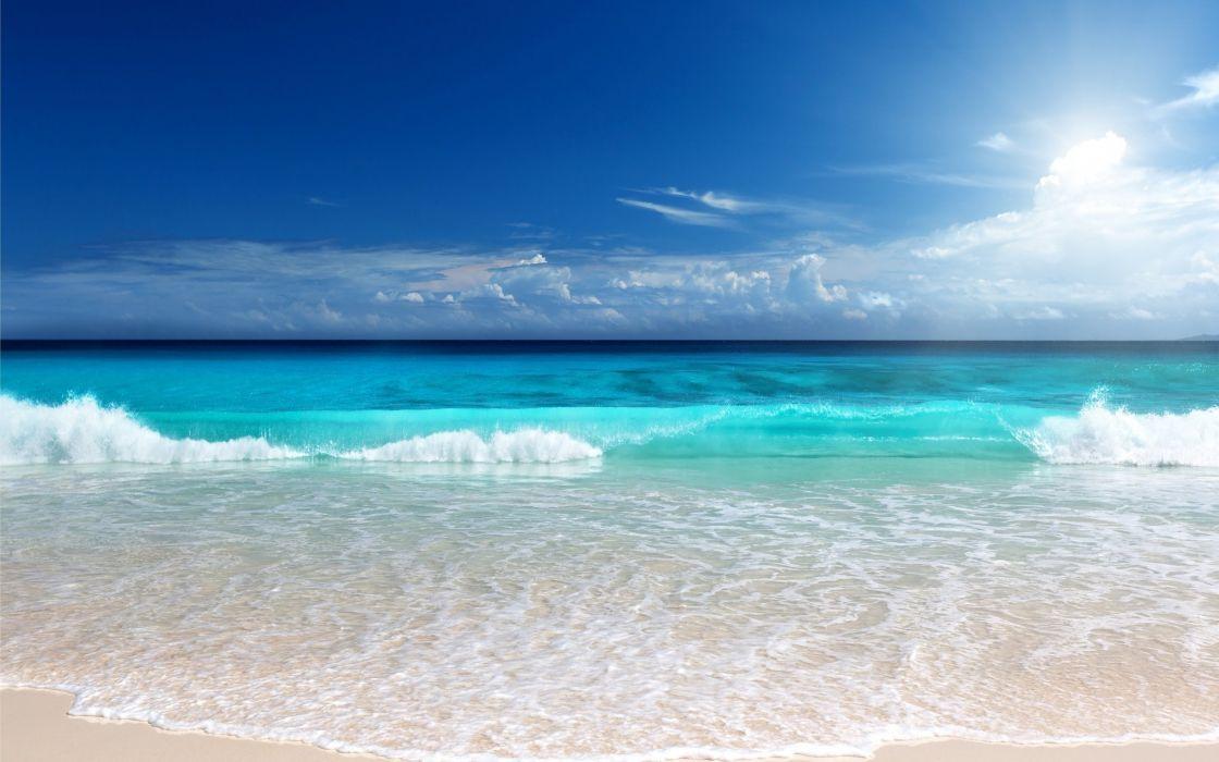 shore waves horizon sea sand beach ocean tropical wallpaper