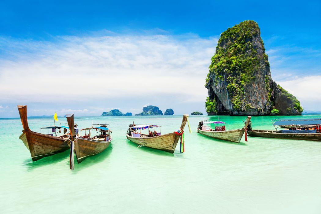 Sea Coast Tropical Paradise Beach Ocean Island Boat Wallpaper