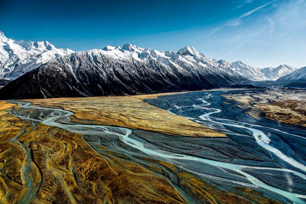 national park aoraki mount cook hooker valley mountains sky river wallpaper