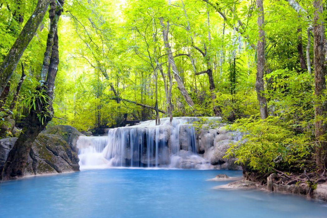 waterfall river waterfall emerald forest landscape forest wallpaper