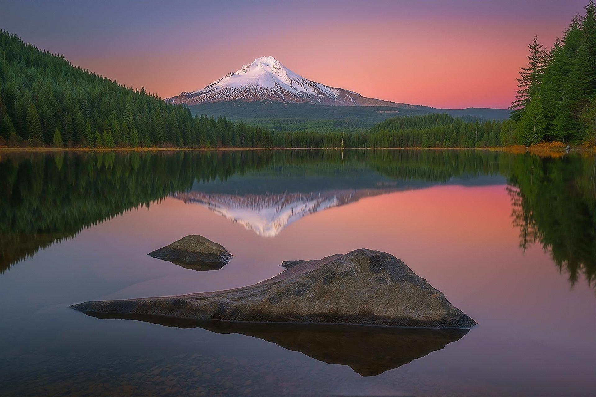 Landscape nature mountains lake forest reflection sunset - Oregon nature wallpaper ...