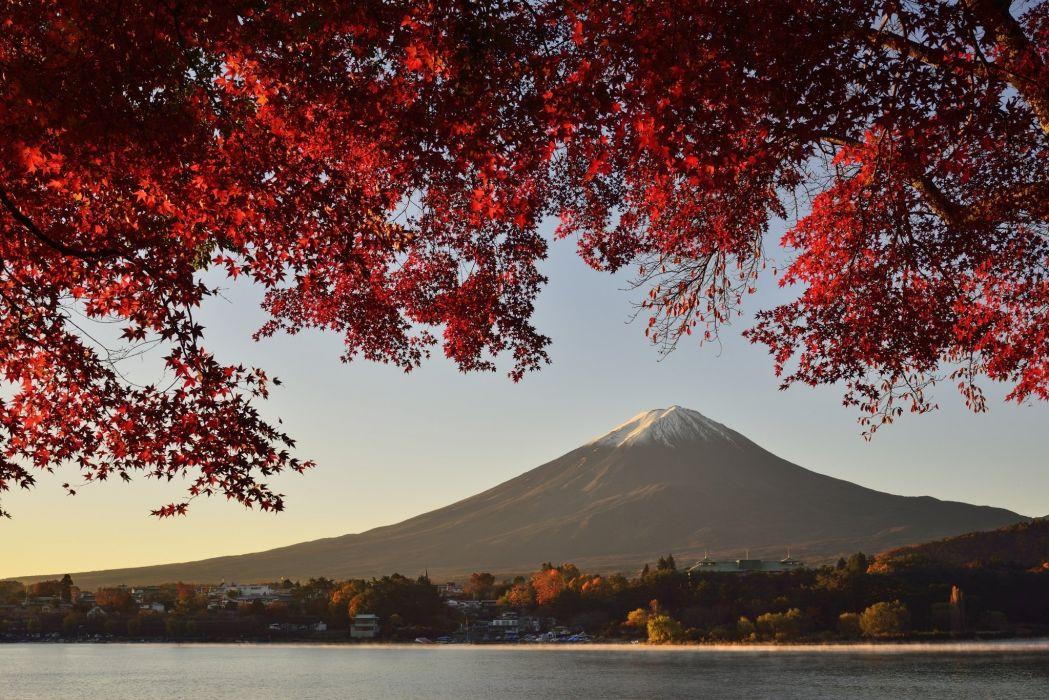 landscape mountain lake autumn Fuji Honshu Japan volcano wallpaper