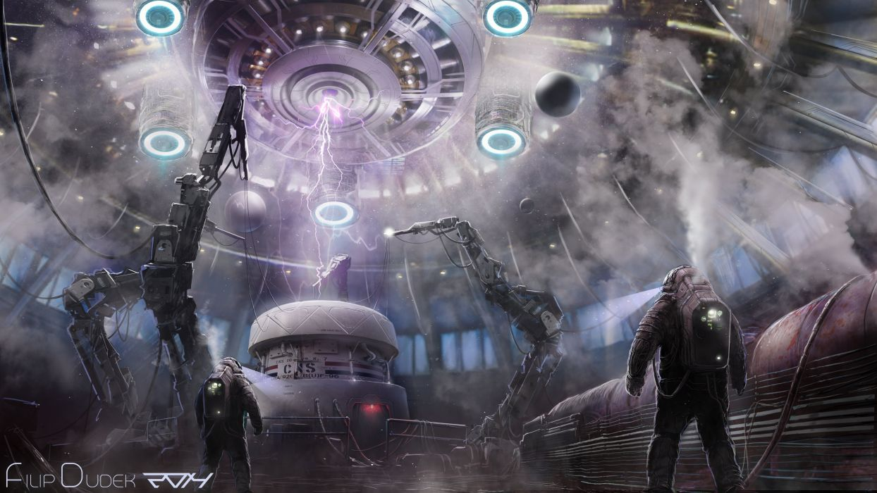 Technics Men Fantastic world sci-fi painting astronaut wallpaper