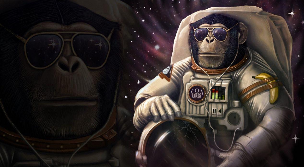 Monkey astronaut Glasses Helmet Fantasy Animals Space Humor sci-fi psychedelic wallpaper