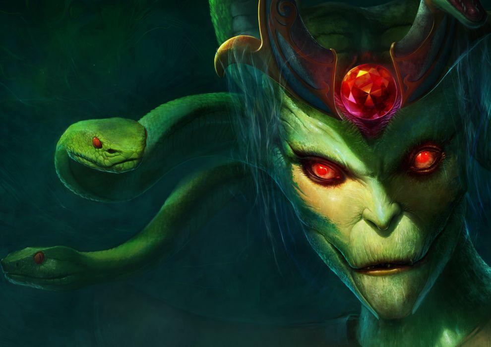Dota  Snake Monster Medusa Glance Games Fantasy Evil Dark Wallpaper