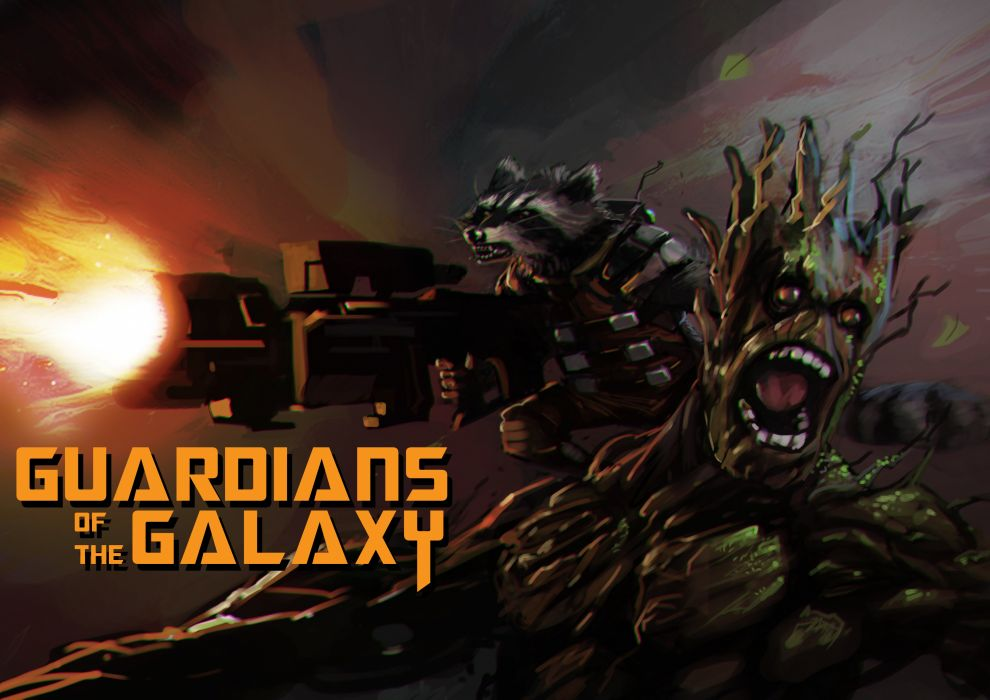 Battle Guardians of the Galaxy Rocket and Groot Movies Fantasy sci-fi wallpaper