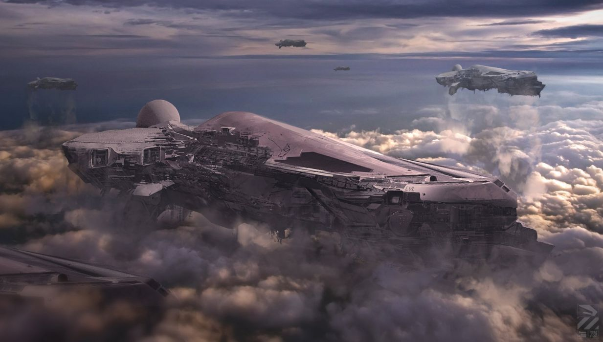 Fantastic world Technics Clouds sci-fi spaceship wallpaper